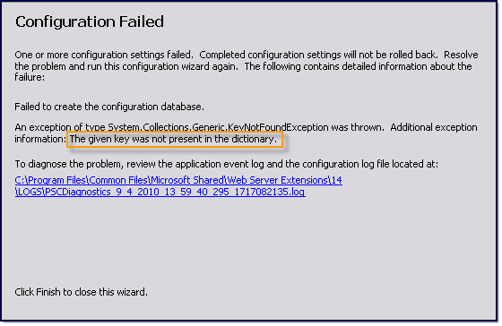 090510 2125 TheGivenKey1 The Given Key Was Not Present in the Dictionary – SharePoint 2010 Error